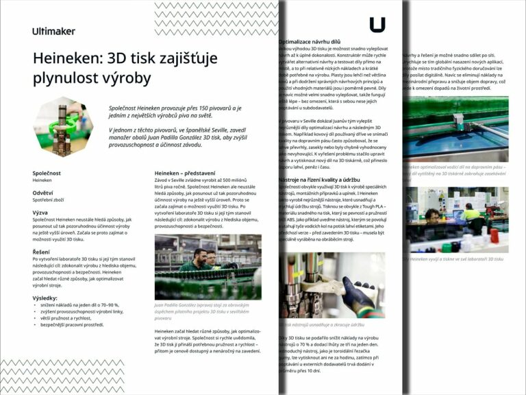 Heineken: 3D tisk zajišťuje plynulost výroby